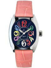 Montres De Luxe CP3 AC QZ BLU Capri Multicolored Stainless Steel Luminous Light Pink Leather Date