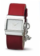 Let's Quack The Duck Silver Dial Red Leather