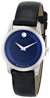 Movado 0606611 Museum Classic Stainless Steel Case Black Calfskin Leather Strap Blue Dial