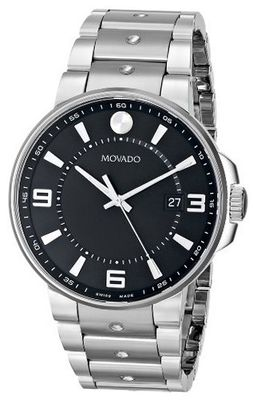 Movado 0606761 SE. Pilot Stainless Steel Case and Bracelet Black Dial