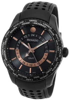 Movado 2600118 Series 800 Black PVD Case Black Calfskin Leather Strap Grey Dial Rose Gold Accents