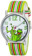 Muppets MU1010 Kermit the Frog Dial Multi-colored Stripe Grosgrain Strap