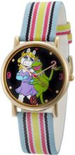 Muppets MU1011 Kermit and Miss Piggy Dial Multi-colored Stripe Grosgrain Strap