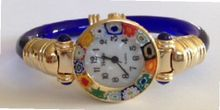 CA D'ORO Murano Millefiori Bangle - Clear Blue Bracelet