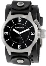 Nemesis B032K Signature Stainless Steel Round Black Dial Leather Cuff