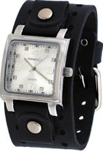 Nemesis #B5156S Square Silver Dial Wide Leather Cuff Band