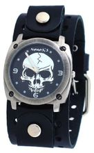 Nemesis #B926K Gun Metal Skull Dial Wide Leather Cuff Band