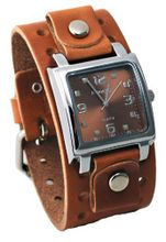 Nemesis #BB516B Brown Wide Leather Cuff Band Analog Brown Dial