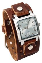 Nemesis #BB516S Brown Wide Leather Cuff Band Analog Silver Dial