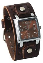 Nemesis #BBB516B Dark Brown Wide Leather Cuff Band Analog Brown Dial