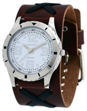 Nemesis #BBNXB096W Criss Cross Wide Leather Cuff Band Sporty White Dial