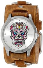 Nemesis BFRB925S Punk Rock Collection Silver Sugar Skull Leather Cuff Band