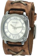 Nemesis #BFXB066S Light Brown Silver Dial Wide Leather Cuff Band