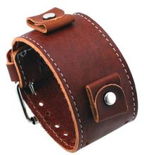 Nemesis #BL-BB Wide Brown Leather Cuff Wrist Band