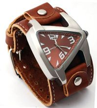 Nemesis #BLBB011B Futuristic Teardrop Brown Dial Wide Leather Cuff Band