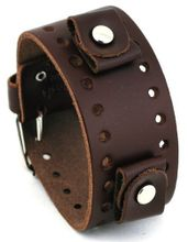 Nemesis #BN-BB Dark Brown Wide Leather Cuff Wrist Band
