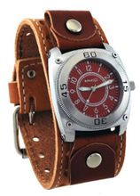 Nemesis #BSTH012B Signature Red Dial Brown Wide Leather Cuff