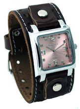 Nemesis #BSTH516P Dark Brown Wide Leather Cuff Band Analog Pink Dial