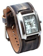 Nemesis #FHST013S Gray Wide Leather Cuff Band Rectangular Silver Dial