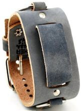 Nemesis #FRB-KS Wide Grey Leather Cuff Band