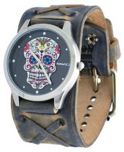 Nemesis #FXB925K Rock Collection Sugar Skull Grey Wide Leather Band