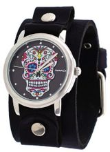 Nemesis #GB925K Rock Collection Sugar Skull Black Wide Leather Cuff Band