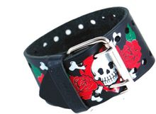 Nemesis #HS-K Wide Black Leather Cuff Tattoo Imprinted Band
