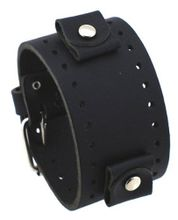 Nemesis #JB-K 22mm Black Stitchless Wide Leather Cuff Band