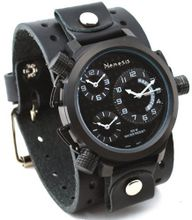 Nemesis #JB080KK Signature Collection 3 Time Zone Oversized Wide Leather Cuff Band