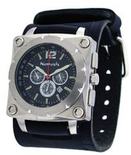 Nemesis #KIN085K Stainless Steel Wide Leather Cuff Chronograph