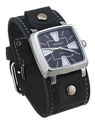 Nemesis #STH111K Iron Cross Tip Black Dial Wide Leather Cuff Band
