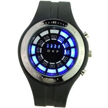 Blue LED Light Waterproof 30M Digital Display Date/Week with Silicone Band-Black