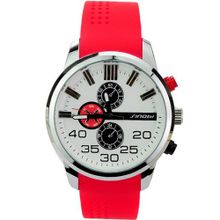Elegant Soft Silicone Band Embeded Small Round Dials Quartz Movement with Water Resistance Stainless Steel-White dial and red band