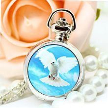 Fashion Present Flying Dove Pattern Stainless Steel Color Pocket