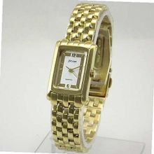 NICOLET Gold-Tone Rectangular with White Dial. Model: NC-2045W