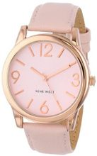 Nine West NW/1158PKRG Round Rose Gold-Tone Pink Strap