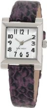 Nine West NW/1213WTPR Square Silver-Tone Easy-to-Read Dial Purple Snake Print Strap