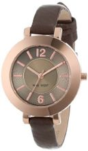 Nine West NW/1319RGGY Round Rose Gold-Tone Brown Strap