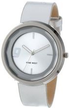 Nine West NW/1357SVSV Round Silver-Tone Strap Faceted Crystal