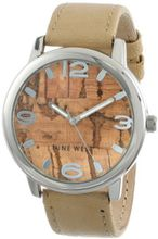 Nine West NW/1363LBCM Silver-Tone Cork Dial Tan Strap