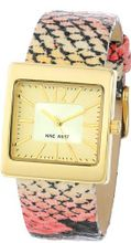 Nine West NW/1366NTPK Square Gold-Tone Pink Snakeskin Pattern Strap