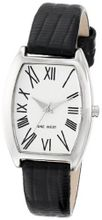 Nine West NW/1371SVBK Oval Silver-Tone Case Black Lizard-Grain Strap