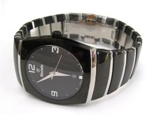 MENS LARGE NIVADA SWISS WATCH ROUND BLACK CERAMIC STAINLESS STEEL HIGH QUALITY