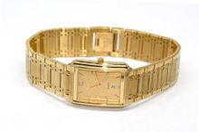 RETRO VINTAGE SUPER SLIM NIVADA SWISS THIN GOLD PLATED STAINLESS STEEL WATCH W CALENDAR