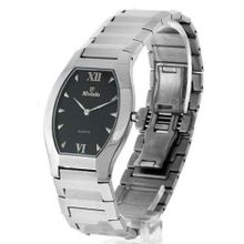 WOMENS NIVADA SUPER SLIM SWISS WATCH SILVER STAINLESS STEEL BLACK DIAL HIGH QUALITY WATER RESISTANT
