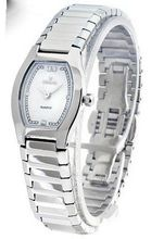 WOMENS NIVADA SUPER SLIM SWISS WATCH SILVER STAINLESS STEEL WHITE DIAMOND DIAL WATER RESISTANT