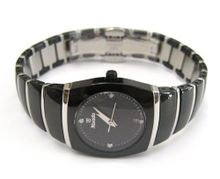 WOMENS NIVADA SWISS WATCH BLACK CERAMIC STAINLESS STEEL HIGH QUALITY DIAMOND DIAL