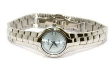 WOMENS NIVADA SWISS WATCH SILVER STAINLESS STEEL HIGH QUALITY WATER RESISTANT ROUND BABY BLUE DIAL