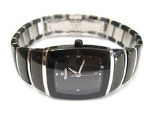 WOMENS NIVADA SWISS WATCH SQUARE BLACK CERAMIC STAINLESS STEEL HIGH QUALITY STUD DIAL