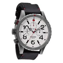 Nixon 48-20 Chrono Leather (Gunmetal/White) es